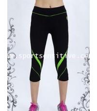 กางเกงแอโรบิค กางเกงโยคะ กางเกงออกกำลังกาย 4 ส่วน สีดำ/เขียว