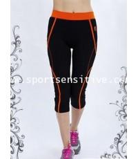 กางเกงแอโรบิค กางเกงโยคะ กางเกงออกกำลังกาย 4 ส่วน ลายไขว้ สีดำ/ส้ม
