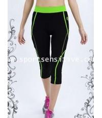 กางเกงแอโรบิค กางเกงโยคะ กางเกงออกกำลังกาย 4 ส่วน ลายไขว้ สีดำ/เขียว