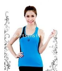 เสื้อแอโรบิค เสื้อโยคะ เสื้อออกกำลังกาย แขนกุด สีฟ้า