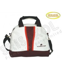 กระเป๋าสะพาย สีขาว สลับ สีน้ำตาล  รหัส A1846-20B