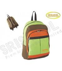 กระเป๋าเป้ สีเขียวตอง สลับ สีส้ม สลับ สีน้ำตาล รหัส A1830-5B