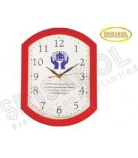 นาฬิกาแขวนเหลี่ยมมน ขอบสีแดง รหัส A2044-21C