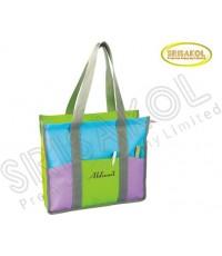 กระเป๋าช้อปปิ้ง สีเขียว สลับ สีฟ้า/ม่วง  รหัส A2024-5B