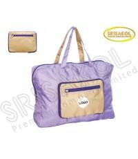 กระเป๋าช้อปปิ้งพับเก็บได้ ผ้าRipstop  สีม่วง/กากี รหัส A1930-1B