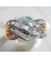(ขายแล้ว) a81231 แหวนหลุดจำนำ ปลอกมีด เพชรเกสรและเพชรแทปเปอร์ 1.10 กะรัต เป็นงานแบบเรีย
