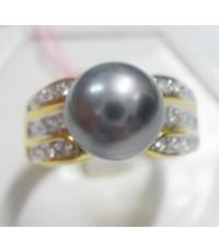 (ขายแล้ว) a81256 แหวนหลุดจำนำ มุกสีเทาเม็ดใหญ่ เพชรเกสร 0.24 กะรัต