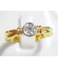 (ขายแล้ว) bb28504 WOWราคาพิเศษ 12,000 บาท แหวนเพชรเม็ดเดี่ยว ก้านแบบเก๋สวย หนัก 0.19 กะรัต เล่นไฟดีค