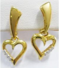 (ขายแล้ว) a79968  ต่างหูหลุดจำนำ หัวใจ เพชรเกสร 0.06 กะรัต
