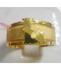 (ขายแล้ว) a81073  แหวนปลอกมีด ตัวอักษร L เป็นงานเรียบๆ ใส่ติดนิ้วได้ตลอด บอกความเป็นคุณไ