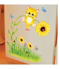 swst-72 Wall sticker Flower and Cat /30 x 60 cm สินค้าพร้อมส่ง