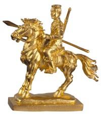 รูปหล่อสมเด็จพระนเรศวรมหาราชทรงม้าศึกเนื้อทองแดงชุบทองไมครอน