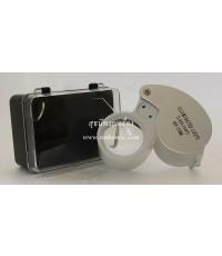 กล้องส่องพระ 40X-25MM (ขยาย 40 เท่า) สีเทา-ขาว (มีไฟ)