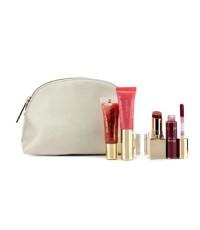 Clarins - Lip Color Set: 1x Lipstick + 2x Lip Gloss + 1x Lip Perfector + 1x Bag - 4pcs+1bag