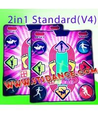 แผ่นเต้นแบบมาตรฐานรุ่นใหม่(v4) 2in1 ต่อ TV ได้โดยตรง(16 bits) + ต่อ PC/Notebook (USB) แพ็คคู่ 2 ชุด