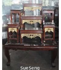 ชุดโต๊ะหมู่บูชาไม้สัก 8 ชิ้น