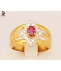 แหวนทับทิมเจียร-เพชร เพชร 12 เม็ด ทับทิมเจียร ตัวเรือนทอง 18K + Pt900