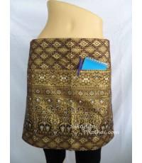 ผ้ากันเปื้อนลายไทย พิมพ์ทอง  ครึ่งตัว สีน้ำตาลทอง 2145