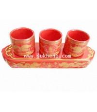 ชุดถ้วยน้ำชาเซรามิคลายมังกร 3 ใบ พร้อมฐานรองเซรามิค