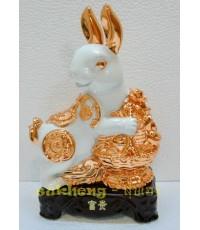 กระต่ายขาวมงคลกับตะกร้าเงินทอง ขนาด 8 นิ้ว