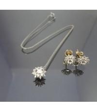 เซทสร้อยคอ ต่างหูทองขาว 14k ดีไซช่อดอกไม้