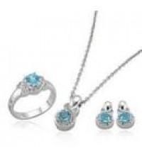 ชุดบุษราคัมธรรมชาติสีฟ้า แหวน,ต่างหู,จี้ห้อยคอ