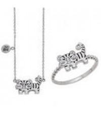ชุดทองสีขาวแฟชั่น ดีไซรูปลายเสือประกอบด้วยแหวน,สร้อยคอ