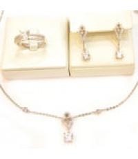 ชุดเครื่องประดับทองสีขาว 0.3กะรัต ดีไซน่ารัก แหวน ต่างหูเข็ม,สร้อยคอพร้อมจี้