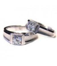 แหวนทองสีขาว แหวนคู่ ดีไซ น่ารัก   ความกว้างของแหวน 7mm dotom ของ ผู้ชายผู้หญิง 6mm