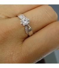 แหวนทองสีขาว 0.5 กะรัตดีไซ น่ารัก แหวนเบอร์ 12
