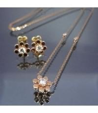 เซทสร้อยคอและต่างหูทองชมพู14k แฟชั่น รูปดอกไม้