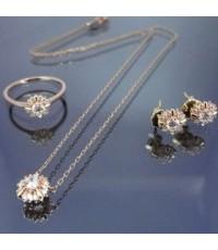 เซทสร้อยคอ แหวนและต่างหูทองชมพู 14k แฟชั่น แต่งเพชร cz 0.1กะรัต