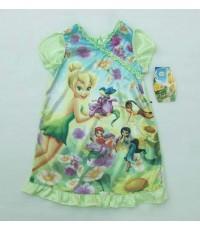 Disney Fairies ชุดนอนกระโปรงแขนตุ๊กตาสีเขียวอ่อน ลาย fairy ผ้าเนื้อมันเงา ใส่สบายไม่หนา ขนาด 24 เดือ