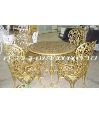 ชุดเก้าอี้อัลลอยลายภรณ์ทิพย์ 4 ที่ / สีทองลงดำ
