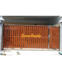 ประตูสเตนเลส ผสมอลูมิเนียมลายไม้ AW-120 (บานเลื่อน)
