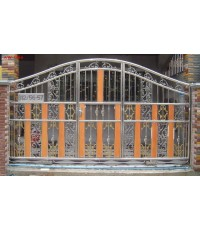 ประตูสเตนเลส ผสมอลูมิเนียมลายไม้ AW-004