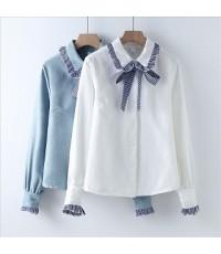 เสื้อเชิตปกสองชั้นจีบปกมีโบว์ผ้าลายสกอ๊ตแขนยาวจั้มยางปลายแขนสีขาว,สีฟ้าไซร์ M L XL