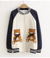เสื้อผ้ายืดแขนยาวคอวีจั้มเอว,จั้มแขน,ปักรูปหมีสองข้างสีเทา,สีน้ำเงิน ไซร์ L