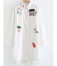 เสื้อเชิตยาวผ้าลายทางมีปักการ์ตูนหน้าอกสองข้าง,สีขาว,ฟรีไซร์