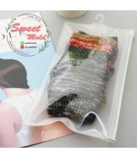 ถุงซองพลาสติกหน้าใสหลังขุ่นแบบซิปเลื่อนมีที่แขวน 50 ชิ้น ขนาด 23x13 cm.
