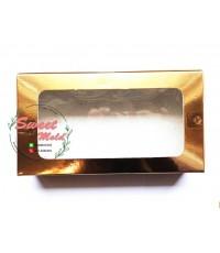 กล่องกระดาษทรงสี่เหลี่ยมผืนผ้าสีฟอยล์ทองโชว์หน้าสินค้า ขนาด 22x12x4 cm. 50 ชิ้น