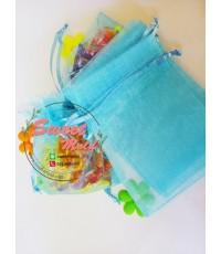 ถุงผ้าไหมแก้วสีฟ้ามีเชือกรูด 100 ชิ้น ขนาด 12x18 cm.