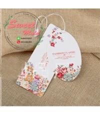Tag เสื้อผ้า ห้อยสินค้า(ลายดอกไม้) 5x9 cm แพ็ค100ชิ้น