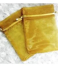 ถุงผ้าไหมแก้วสีขาวมีเชือกรูด 100 ชิ้น ขนาด 16*21 cm