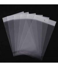 ถุงพลาสติกแถบขาวมีรูแขวนแบบมีเทปกาว 100 ชิ้น ขนาด 12*15 cm