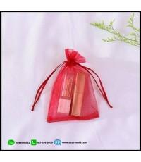 ถุงซองผ้าไหมแก้วสีแดงมีเชือกรูด 100 ชิ้น ขนาด 9x12 cm.