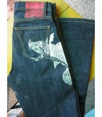 [ขายแล้ว*]กางเกงยีนส์KEN NAKAMURA ลายปลาคาร์ฟ ไซส์ 32 ริมแดง+เนื้อผ้าด้านสวยมาก ๆ [clickดูรูปด้านในไ