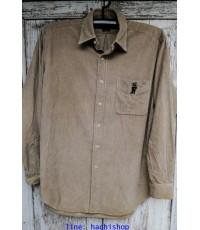 เสื้อเชิ้ต Polo Ralph Lauren มือสอง สีน้ำตาลอ่อน ลูกฟูกเล็ก ไซส์ L มีปักรูปหมีตรงกระเป๋าด้วย