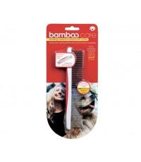 Bamboo : 90008 ที่แปรงขน Bamboo เป็นพลาสติก สีแดง-ขาว แปรงหDog/Cat Rotating Medium/Coares Tooth Comb