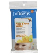 Dr.Brown\'s : DRBHG002 ผ้าเปียกเช็ดทำความสะอาดจมูกและหน้า Nose  Face Wipes, 30 Pack